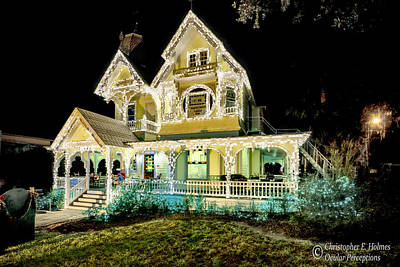 Photograph - J. P. Donnelly House Dressed For Christmas by Christopher Holmes
