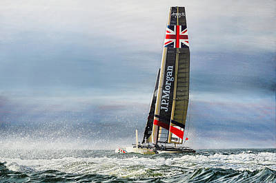 Painting - America's Cup - J. P. Morgan Ben Ainslie Racing BAR AC45 Catamaran by Mark Woollacott