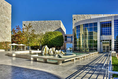 Photograph - J. Paul Getty Museum Courtyard Fountains Blue Veined Marble Boulders Sculpture by David Zanzinger