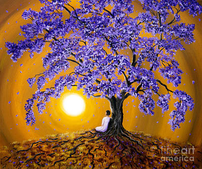 Meditating Painting - Jacaranda Sunset Meditation by Laura Iverson