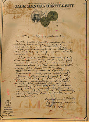 Photograph - Jack Daniel's Letter In Tin by Living Color Photography Lorraine Lynch