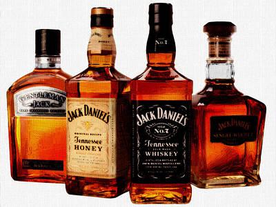 Bottles Painting - Jack Daniel's by VRL Art