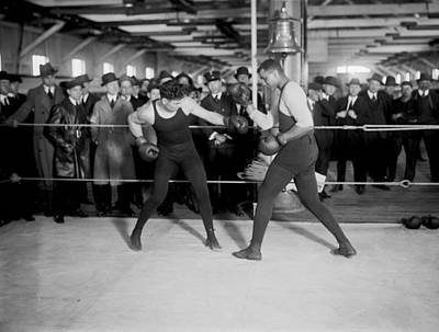 Jack Dempsey Sparring Art Print by Underwood Archives