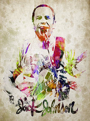Autograph Digital Art - Jack Johnson Portrait by Aged Pixel
