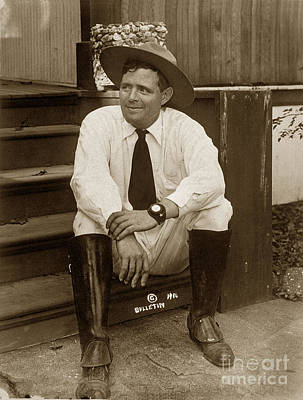 Photograph - Jack London At His Ranch Geen Ellen Sonoma California 1916 by California Views Archives Mr Pat Hathaway Archives