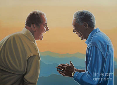 Jack Nicholson And Morgan Freeman Art Print by Paul Meijering