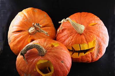 Orange Jack-o-lanterns Anticipating Halloween Art Print by Michael Riley