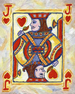 Poker Painting - Jack Of Hearts by Linda Mears