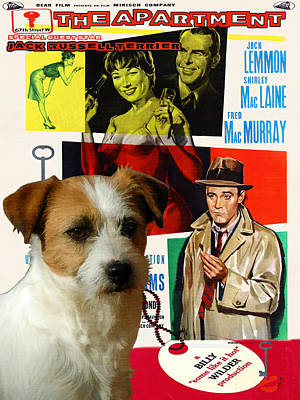 Painting - Jack Russell Terrier Art Canvas Print - The Apartment Movie Poster by Sandra Sij