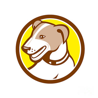 Terrier Digital Art - Jack Russell Terrier Head Circle Cartoon by Aloysius Patrimonio