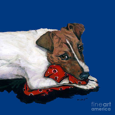 Jack Russell With A Red Bandana Art Print