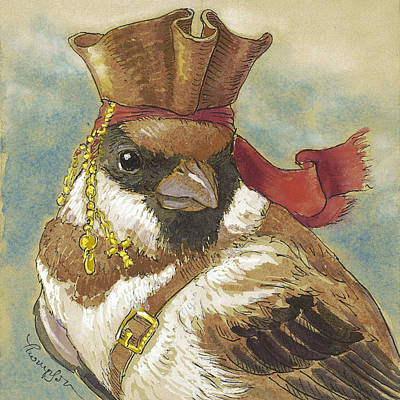 Sparrow Mixed Media - Captain Jack Sparrow by Tracie Thompson