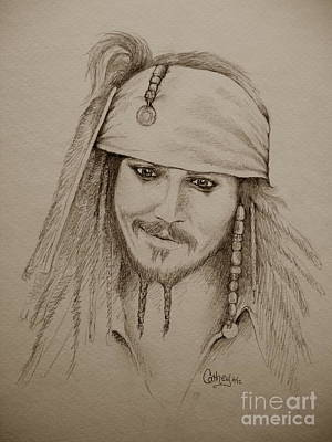 Drawing - Jack Sparrow In Sepia by Catherine Howley