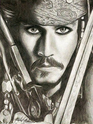 Drawing - Jack Sparrow by Michael Mestas