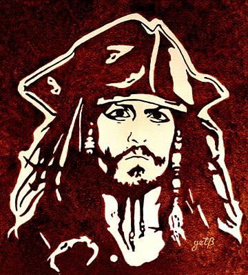 Typography Tees - Jack Sparrow original coffee painting by Georgeta Blanaru