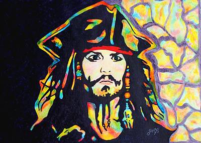 Pirates Of The Caribbean Painting - Jack Sparrow Original Watercolor Painting by Georgeta Blanaru