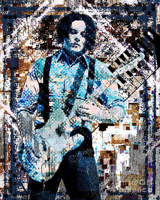 Stripes Mixed Media - Jack White - Original Painting Art Print by Ryan Rock Artist