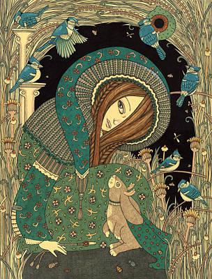 Jay Drawing - Jackalope Garden by Anita Inverarity