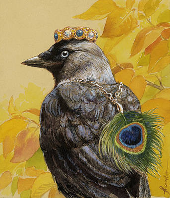 Crows Mixed Media - Jackdaw Triumphant by Tracie Thompson
