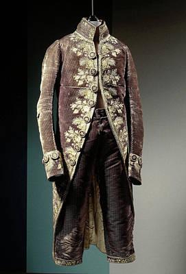 Jacket Or Skirt Discolored Dark Blue Velvet With Wavy Art Print