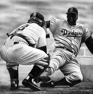 Professional Baseball Teams Drawing - Jackie And Yogi by Jerry Winick