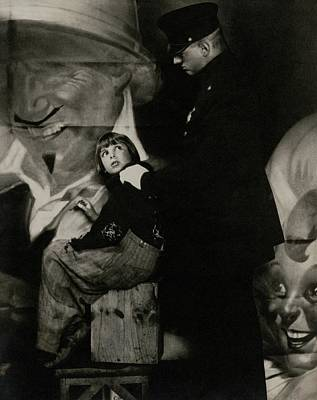 Police Officer Photograph - Jackie Coogan With A Policeman by Edward Steichen