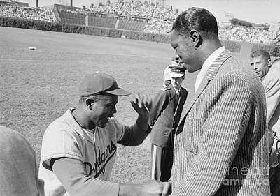 Cole Photograph - Jackie Robinson And Nat King Cole At Wrigley Field by The Harrington Collection