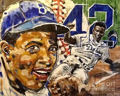 Athletes Royalty-Free and Rights-Managed Images - Jackie Robinson  by Mark Weldon
