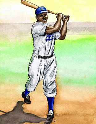 Baseball Drawing - Jackie Robinson by Mel Thompson