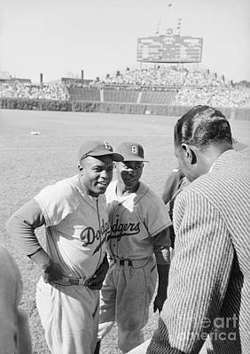 Vocal Photograph - Jackie Robinson With Hank Aaron And Nat King Cole  by The Harrington Collection