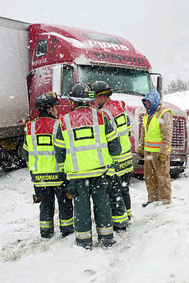 First Responders Photograph - Jackknifed Truck Blocking Highway by Jim West