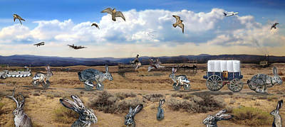 Art Print featuring the digital art Jackrabbit Juxtaposition  At Owyhee View by Tarey Potter