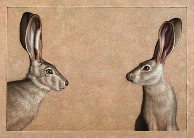 Brown Drawing - Jackrabbits by James W Johnson