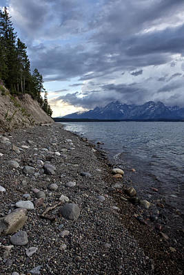 Jackson Lake Shore With Grand Tetons Art Print by Belinda Greb