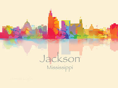 Digital Art - Jackson Mississippi Skyline by Loretta Luglio