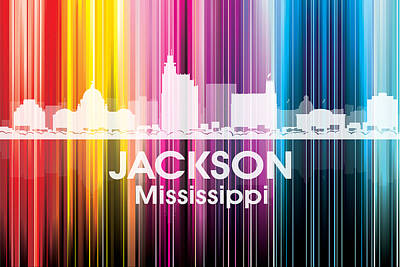 Abstract Skyline Mixed Media - Jackson MS 2 by Angelina Tamez
