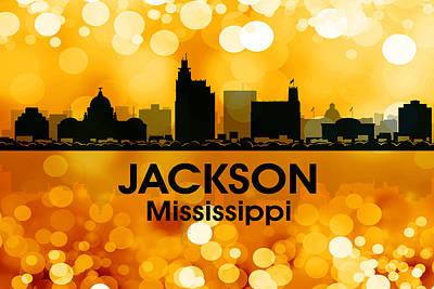 Abstract Skyline Mixed Media - Jackson MS 3 by Angelina Tamez