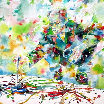 Drip Painting - Jackson Pollock - Watercolor Portrait.1 by Fabrizio Cassetta