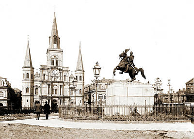 New Orleans Jackson Square Drawing - Jackson Square And St by Litz Collection