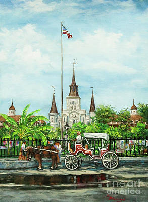 New Orleans Oil Painting - Jackson Square Carriage by Dianne Parks