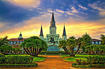 Jackson Square Evening - Paint Art Print by Steve Harrington