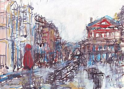 Drawing - Jackson Square French Quarter by Edward Ching