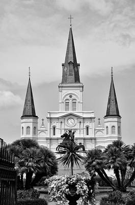Jackson Square In Black And White Art Print by Bill Cannon