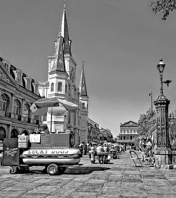 Hot Dogs Photograph - Jackson Square Monochrome by Steve Harrington
