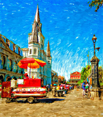 Lucky Dogs Wall Art - Photograph - Jackson Square Painted Version by Steve Harrington