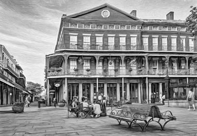 Jackson Square Photograph - Jackson Square Reading - Paint Bw by Steve Harrington