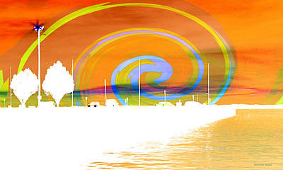 Photograph - Jackson Street Pier - Orange Swirl by Shawna Rowe