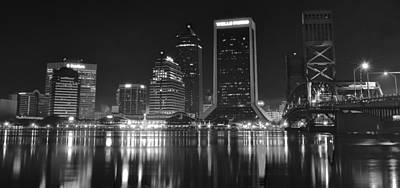 Black Commerce Photograph - Jacksonville Black And White Night by Frozen in Time Fine Art Photography