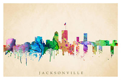 Digital Art - Jacksonville Cityscape by Steve Will