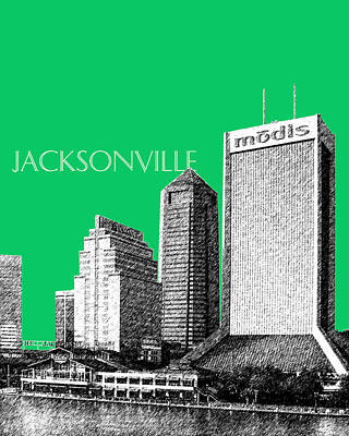 Jacksonville Florida Skyline - Green Art Print by DB Artist